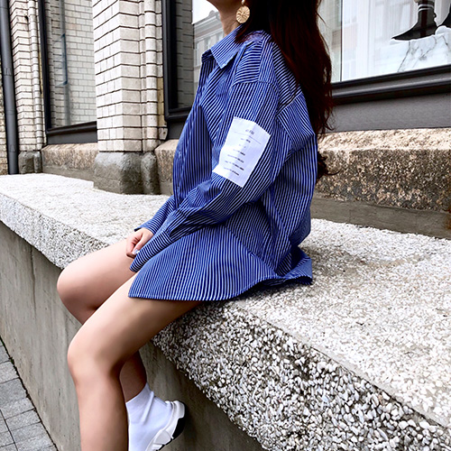 [4BLESS] 빅카라 Label Shirts Blue