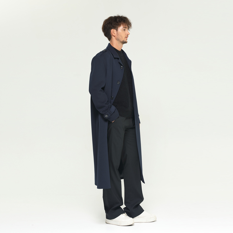 [알로스] Maxi Long Trench coat [Blue Black]