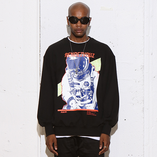 [알디브이제트] SPACE MAN SWEAT TOP BLACK