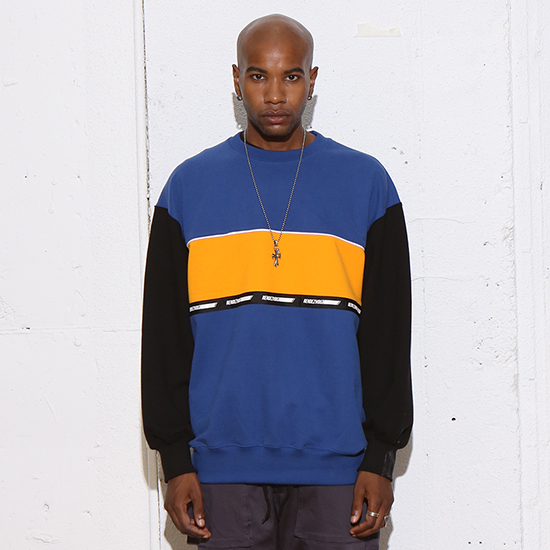 [알디브이제트] COLOR BLOCK SWEAT TOP DARKBLUE