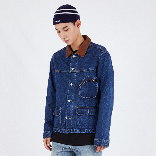 [예스아이씨]MULTI POCKET WASHED TRUCKER DEEP BLUE