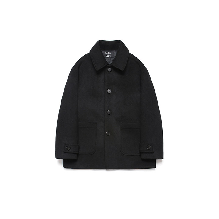 [라퍼지스토어]Wool Over Half Coat_Black