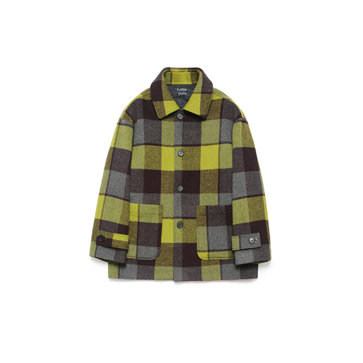 [라퍼지스토어]Wool Over Half Coat_Madras Check Yellow Gold