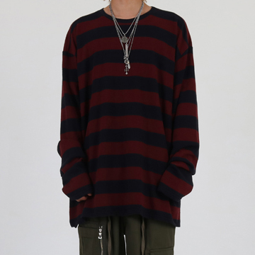 [이노반트]Round neck stripe over long sleeve (burgundy)