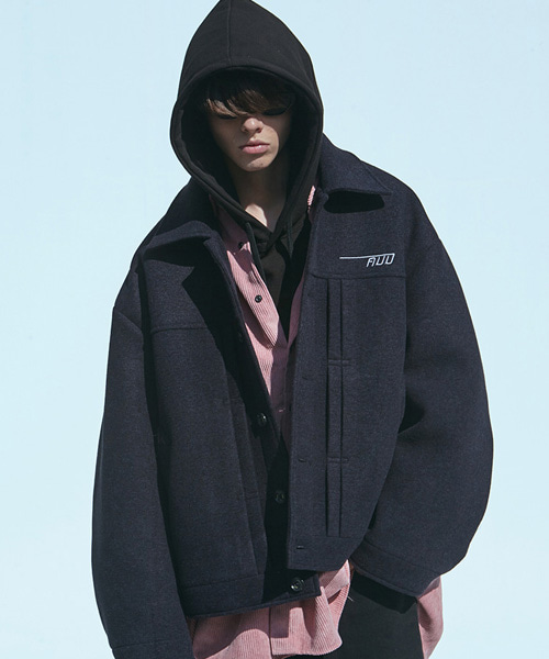 [에드]NEOPRENE PIN TUCK WOOL JACKET NAVY
