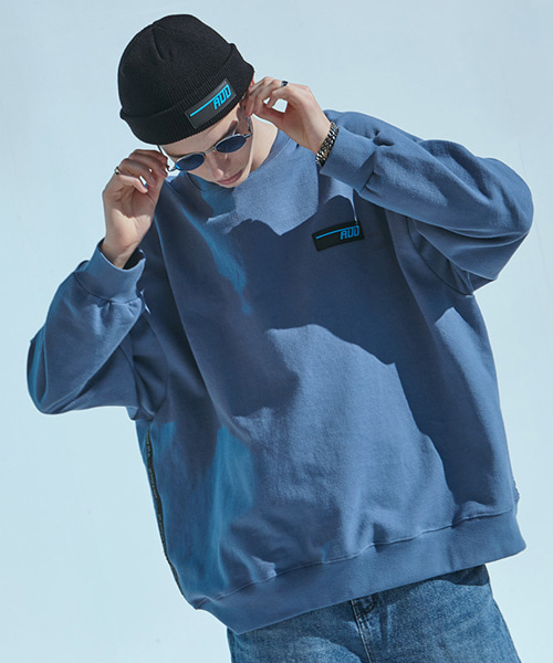 [에드][기모]LOGO TAPING CREWNECK BLUE