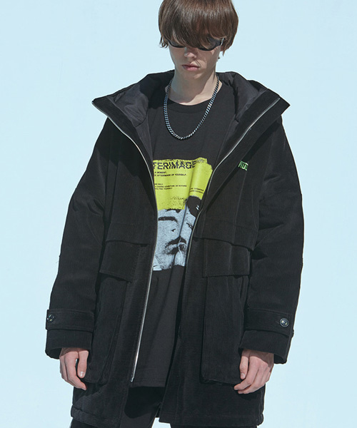 [에드]CORDUROY THINSULATE PARKA COAT BLACK