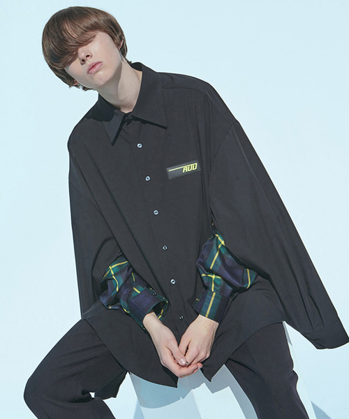 [에드]CHECK QUAD SLEEVED SHIRT BLACK