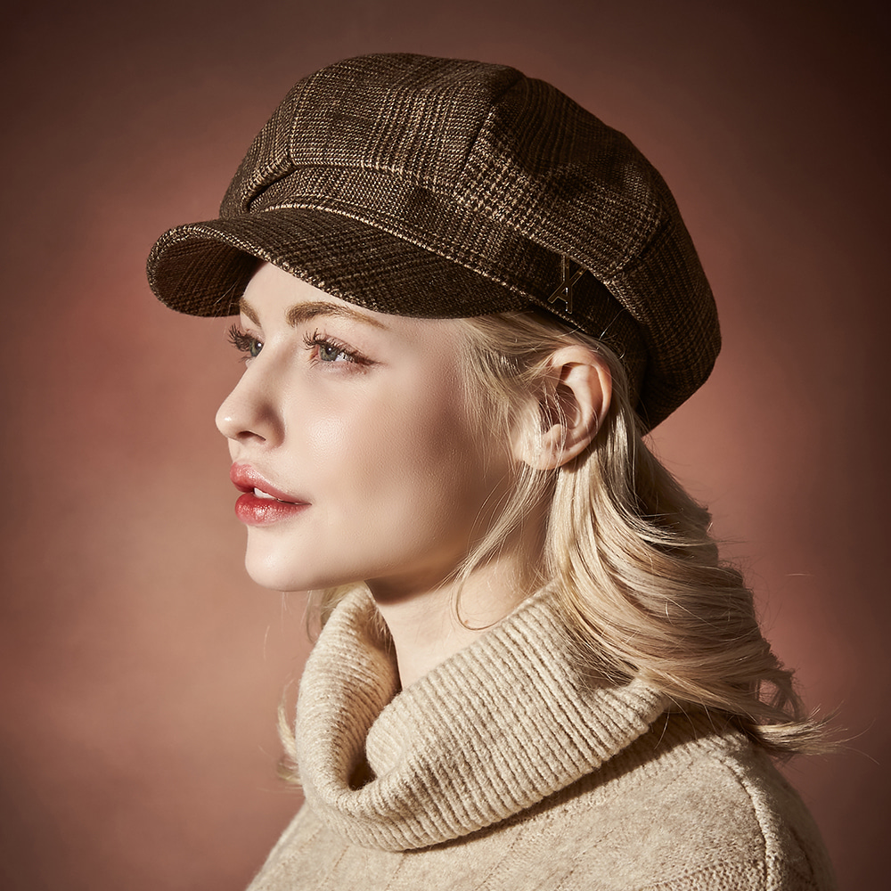 [바잘]   Glen check newsboy cap brown