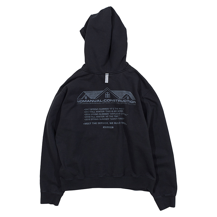 [노매뉴얼]NM CONSTRUCTION HOODIE - BLACK