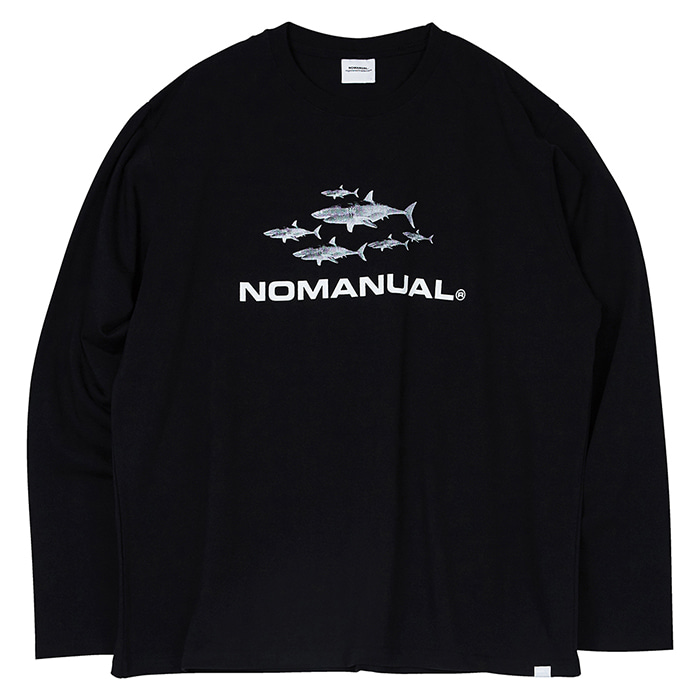 [노매뉴얼] SHARK TM LONG SLEEVE TEE - BLACK