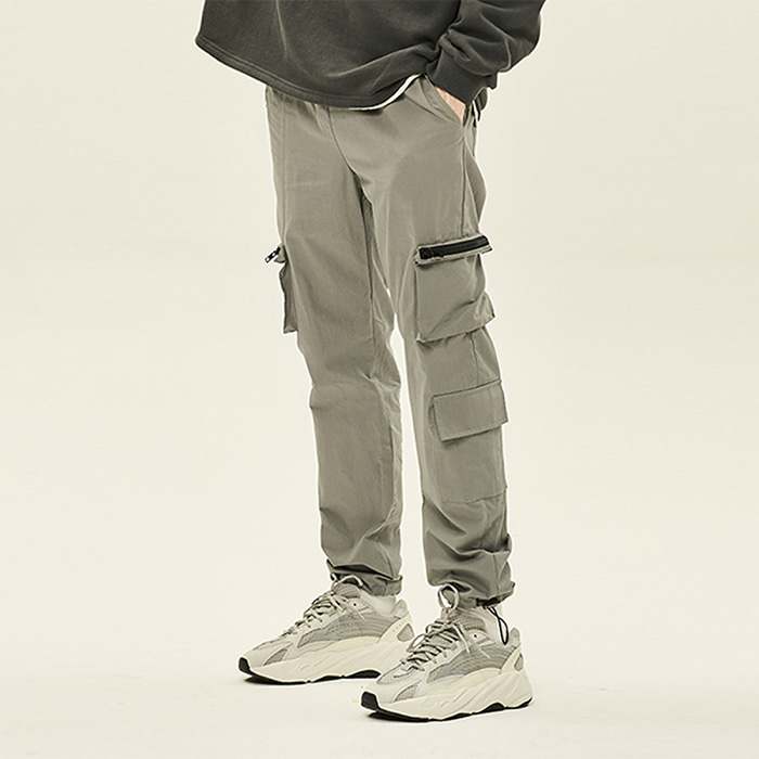 [데드엔드] GRAY CARGO ZIPPER STRING PANTS