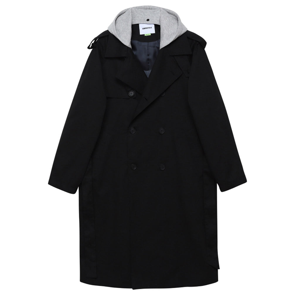 [언아웃핏] UNISEX TRENCH DOUBLE COAT BLACK