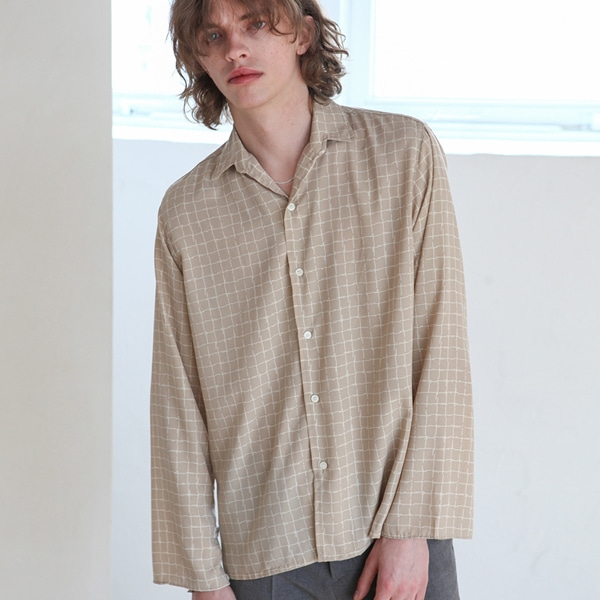 [트립르센스] SPLIT CHECK SHIRTS BEIGE