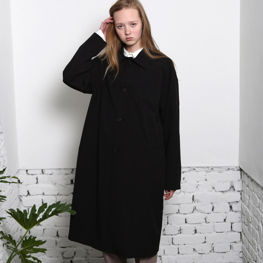[언아웃핏] UNISEX SINGLE TRENCH COAT BLACK