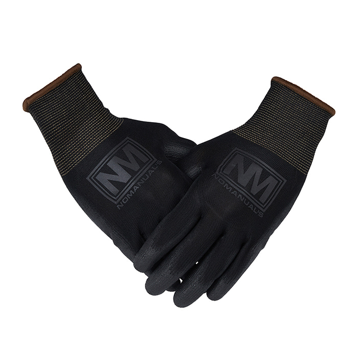 [노매뉴얼] REFLECTIVE LOGO WORK GLOVES - BLACK