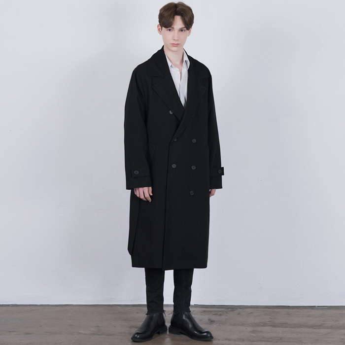 [단하우스] BLACK Oversized Long Trench Coat