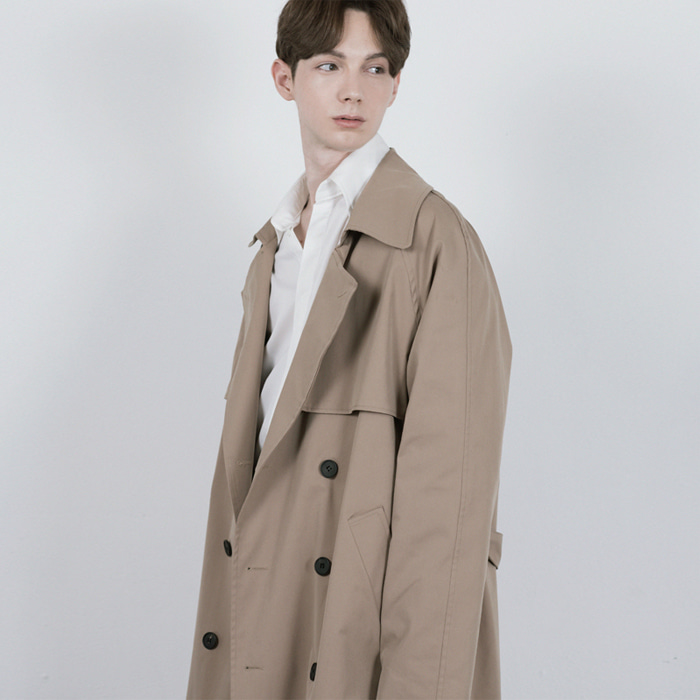 [단하우스] DARK BEIGE Oversized Raglan Trench Coat
