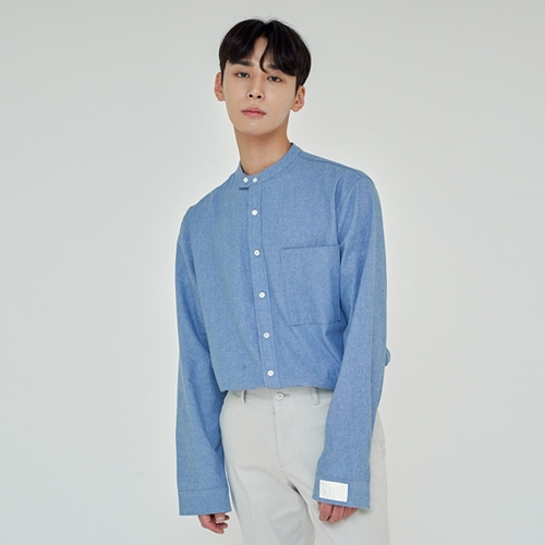 [트립르센스] COMFORT NON-COLLAR SKY SHIRTS LIGHT BLUE