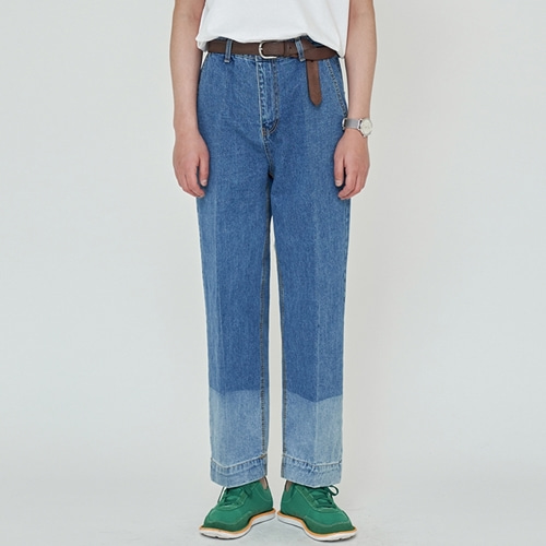 [트립르센스] TWO-TONE WASHED DENIM PANTS DEEP BLUE