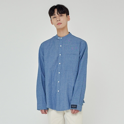 [트립르센스] COMFORT NON-COLLAR SKY SHIRTS DARK BLUE