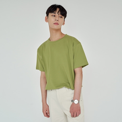 [트립르센스] LOOSE FIT SILKET T-SHIRTS YELLOW GREEN