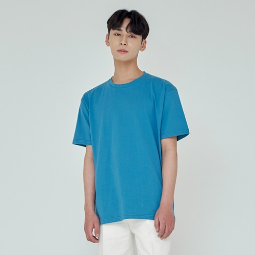 [트립르센스] LOOSE FIT SILKET T-SHIRTS AQUA BLUE