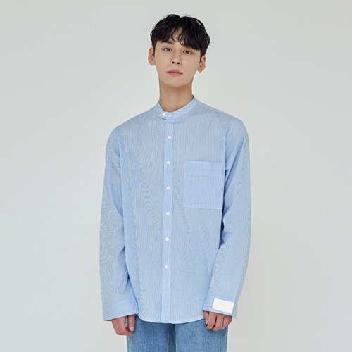 [트립르센스] COMFORT NON-COLLAR ST SHIRTS LIGHT BLUE