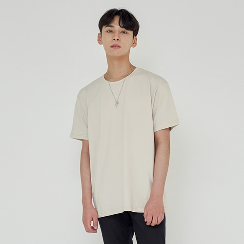 [트립르센스] LOOSE FIT SILKET T-SHIRTS BEIGE