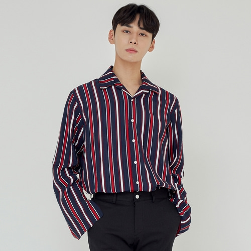 [트립르센스] FALL STRIPE SHIRTS [LINEN VER.] NAVY