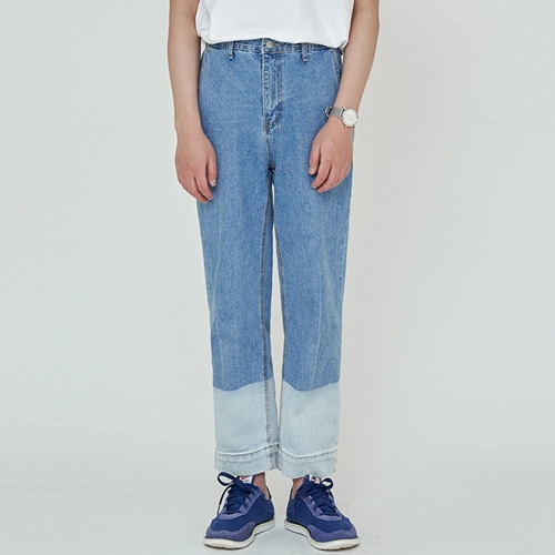 [트립르센스] TWO-TONE WASHED DENIM PANTS LIGHT BLUE