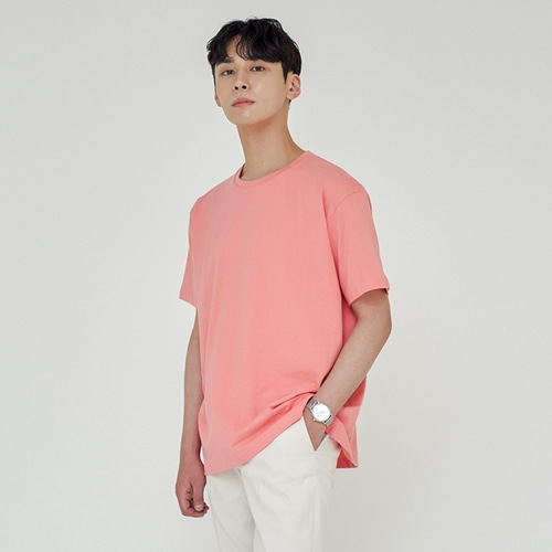 [트립르센스] LOOSE FIT SILKET T-SHIRTS CORAL
