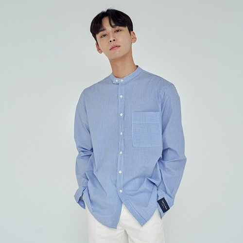 [트립르센스] COMFORT NON-COLLAR ST SHIRTS BLUE