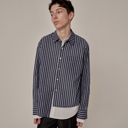 [트립르센스] ST LAYERED LINEN SHIRTS NAVY