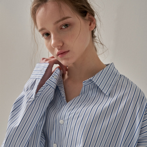 [트립르센스] OBLIQUE LINE STRIPE SHIRTS BLUE