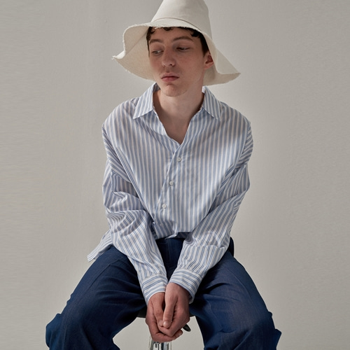 [트립르센스] OBLIQUE LINE STRIPE SHIRTS WHITE