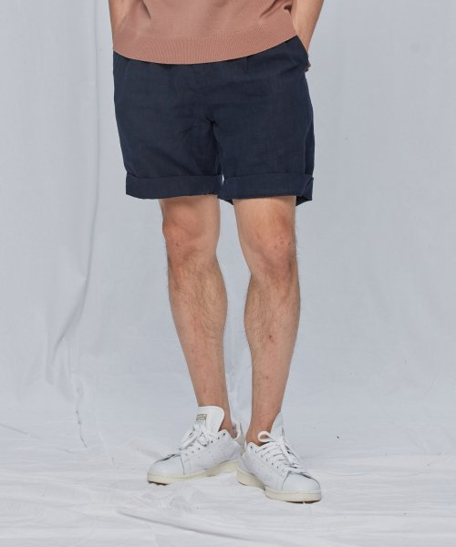 [프리즘웍스] LINEN TWO TUCK SHORTS _ NAVY