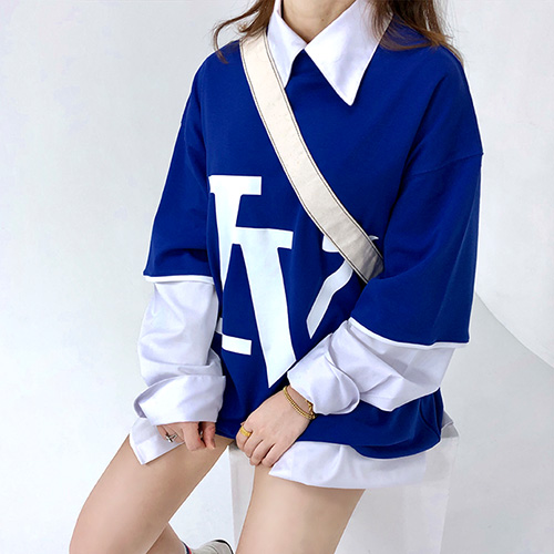 [4BLESS] Big Logo High Neck Over T-shirts Blue