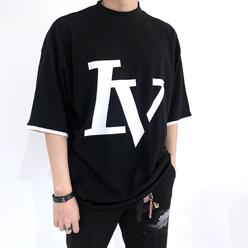 [4BLESS] Big Logo High Neck Over T-shirts Black