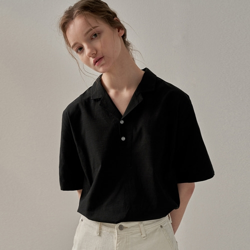 [트립르센스] CRUISE LINEN PK SHIRTS BLACK