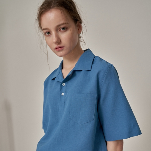 [트립르센스] COLOR LINEN PK SHIRTS BLUE