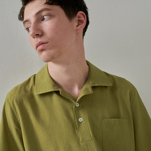 [트립르센스] COLOR LINEN PK SHIRTS YELLOW GREEN