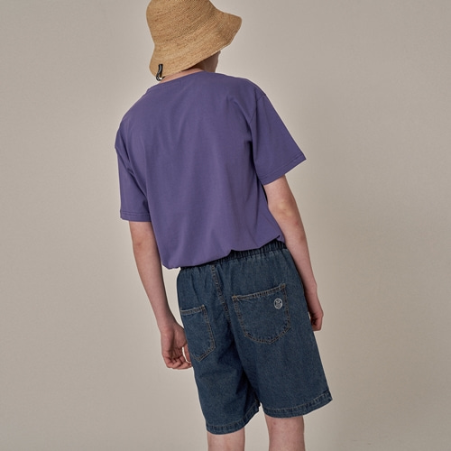 [트립르센스] COLOR STRAP DENIM BANDING SHORTS DEEP BLUE