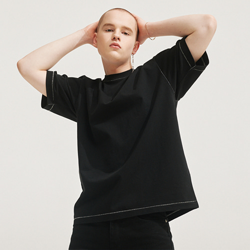 [에이글로우] SECRET STITCH LABEL T-SHIRTS BLACK