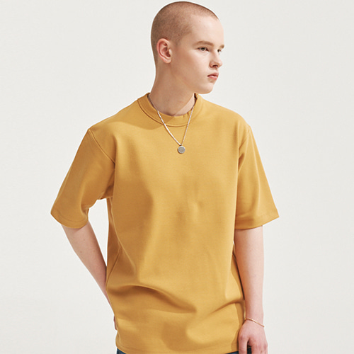 [에이글로우] ROYAL TENSION LABEL T-SHIRTS MUSTARD