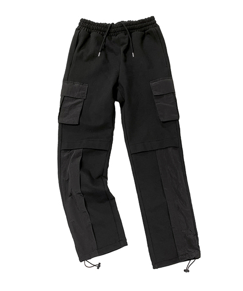 [넥스트도어립스] FLY KNEE CARGO PANTS BLACK