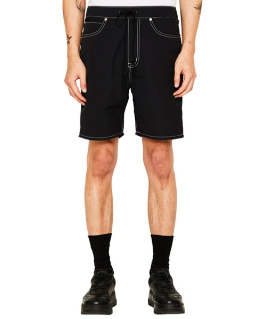 [랩101] [COLLECTION] BLACK NYLON CROSS DENIM SHORTS