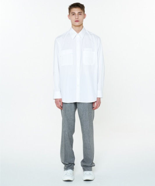 [에스티유]Double pocket shirt white