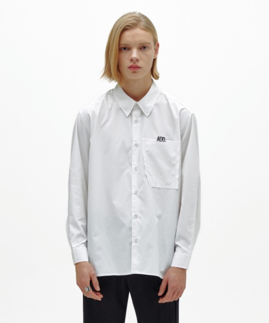 [에드] RAW EDGE POCKET SHIRT WHITE
