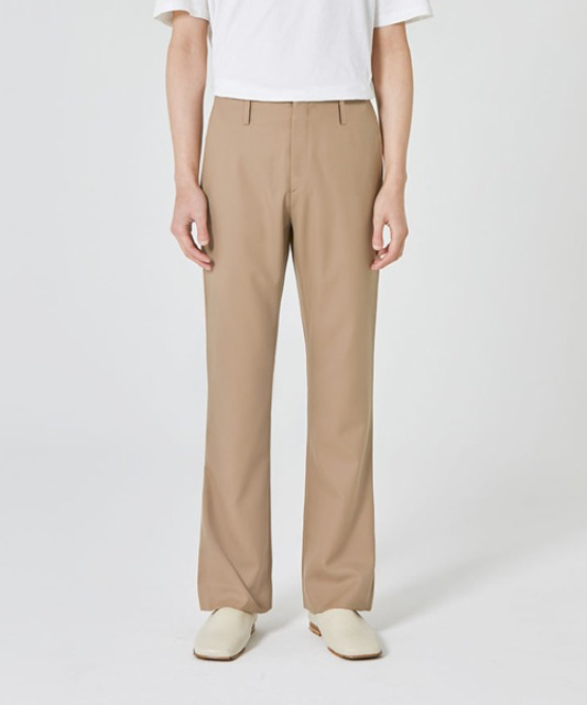 [밈더워드로브] ANDER Wool Semi Wide Pants Beige (set-up)
